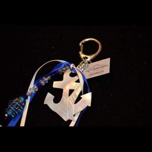 Blue White Anchor Keychain