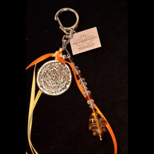 Yellow Orange Coin Keychain